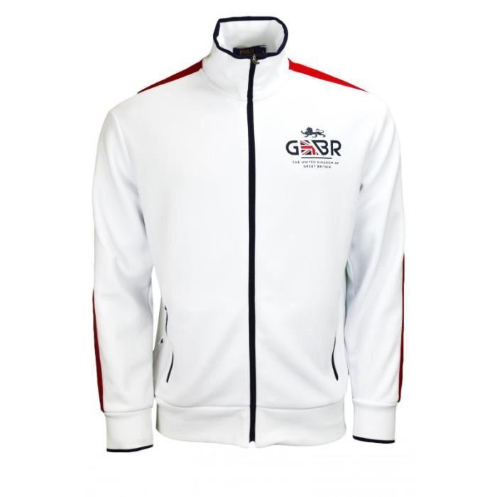 Veste zippée Ralph Lauren Grande-Bretagne he pour homme Blanc Blanc ... a621d128637e