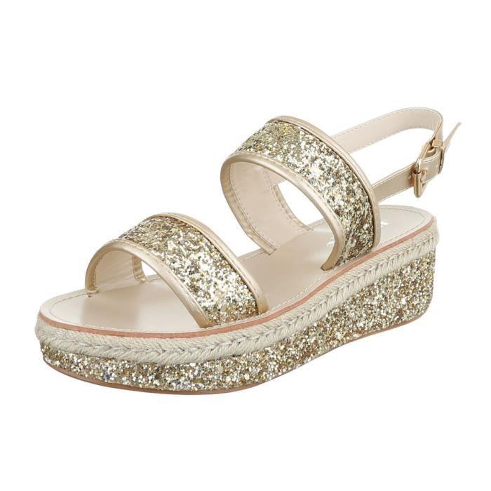 femme sandale chaussure chaussures d'été chaussures de plage Plateau Paillettes or