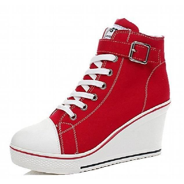 Baskets montantes à talons Mode toile Chaussures à lacets pompe Wedges côté Chaussures Zipper QCTC0 Taille-36 Sdps8LeRg