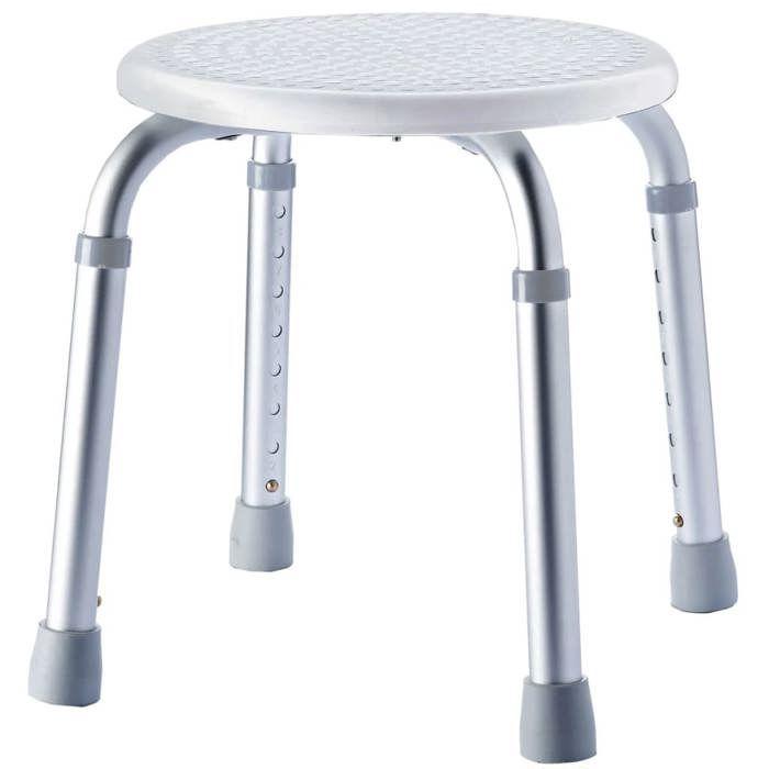Tabouret de salle de bains rond à hauteur réglable - Blanc
