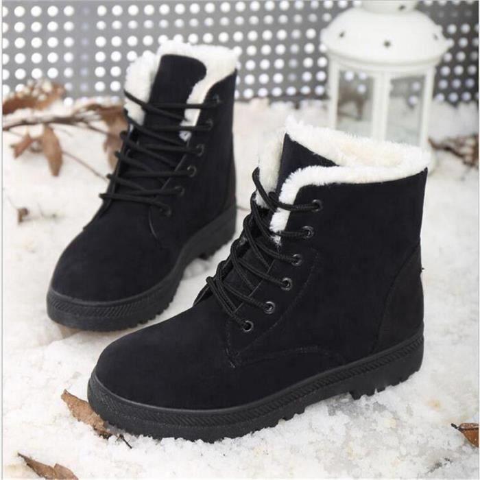 Bottine Femme hiver Classique peluche boots BWYS-XZ003Noir-43
