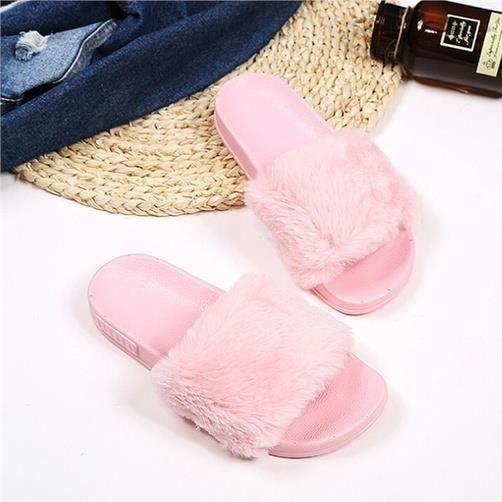 Vbiger plat Chaussons Slip tendance douce sur Sandales plates pour les femmes, Rose