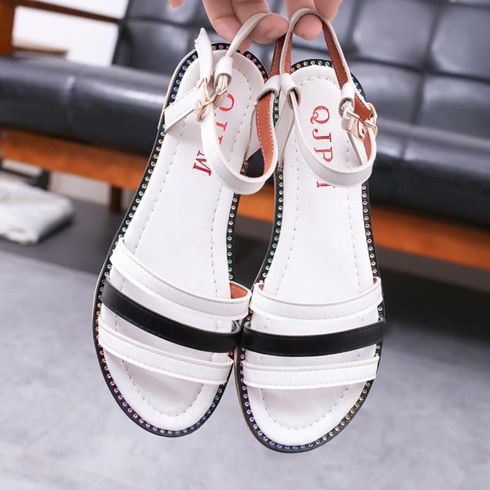 Tongs Plage Sandales Romaines Chaussures Les D'été Blanc De Femmes Plates SVMGUzpq