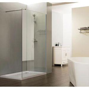 Paroi de douche italienne fixe 8 mm 120 cm avec barre de soutien horizontale