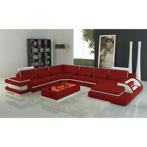 CANAPÉ - SOFA - DIVAN Canapé panoramique design en cuir rouge et blanc a