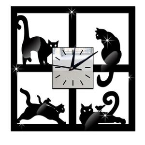 HORLOGE - PENDULE Miroir Cat unique mur noir Horloge design moderne