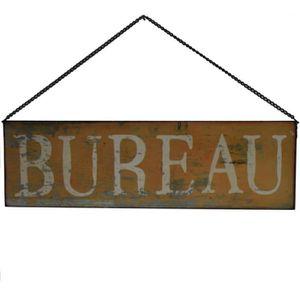 OBJET DÉCORATION MURALE Style Ancienne Plaque Murale Bureau Jaune 50 x 15
