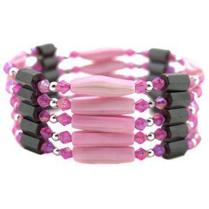 BRACELET - GOURMETTE bracelet collier magnetique aimant femme rose 89cm