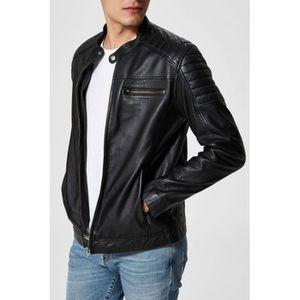 Blouson cuir noir homme - Achat   Vente pas cher 4146bb12f21