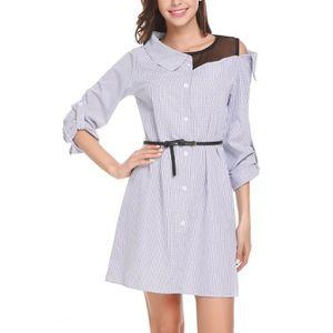 34555a1f0fa42 CHEMISE - CHEMISETTE Manches longues femmes col V en vrac Robe chemise
