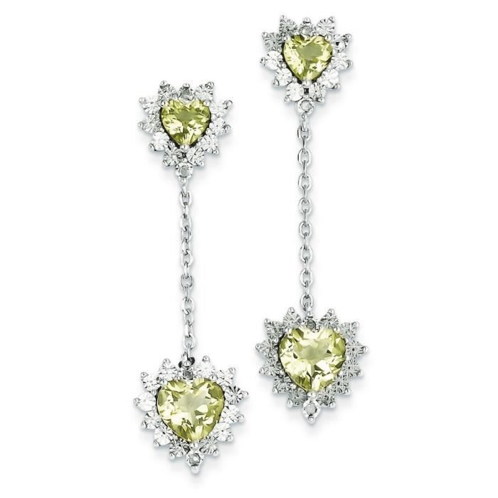 Argent Sterling diamant et Quartz jaune-Boucles doreilles