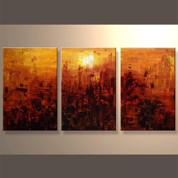 Tableau abstrait tableaux abstraits tableau triptyque tableau design ...