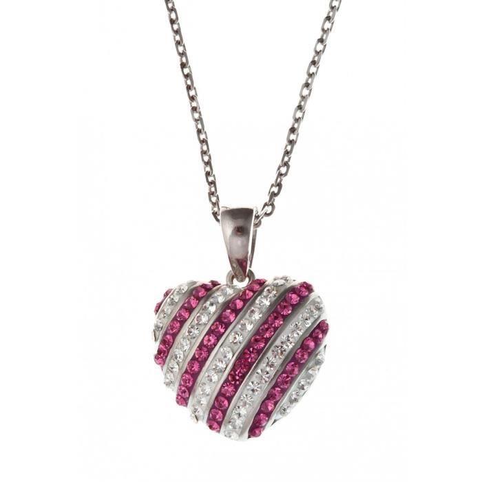 Collier argent rhodié :coeur: avec cristal preciosa - 38+4cm
