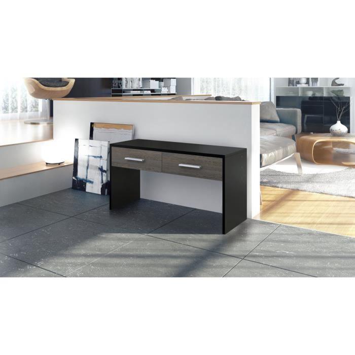 Console noire et bois wengé avec 2 tiroirs 90 cm - Achat / Vente ...