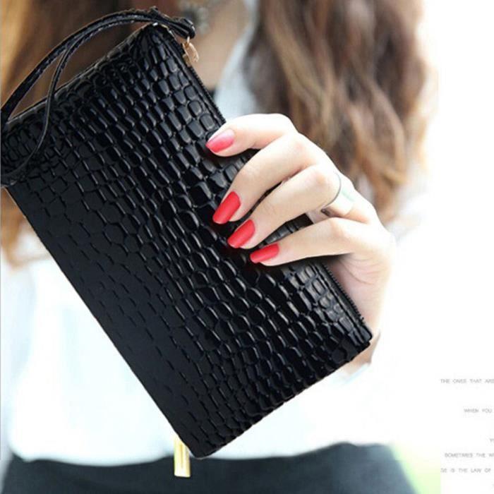 1x sac à main noir sac à main en cuir PU femmes pour les accessoires de cadeau de fête