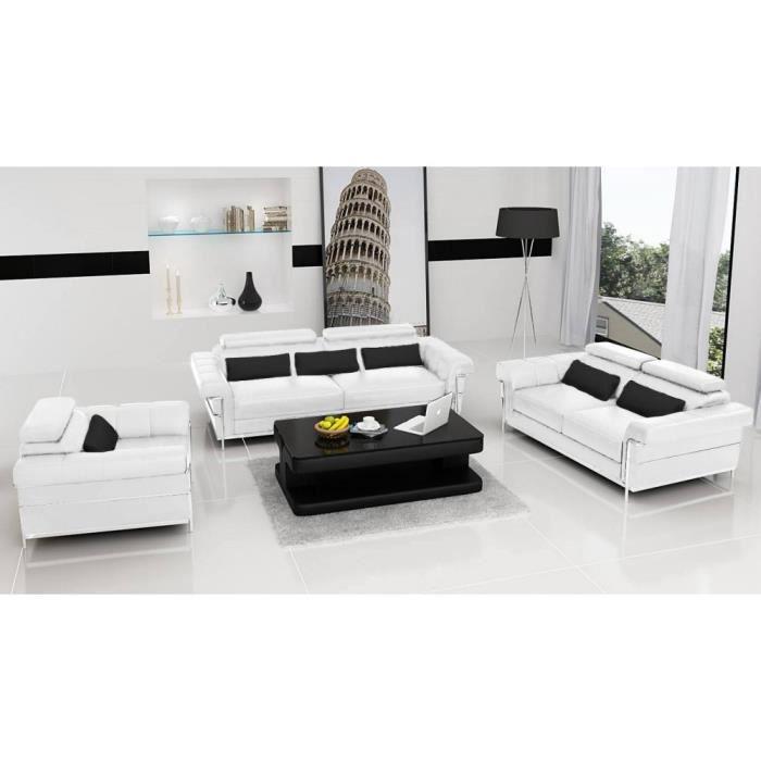 Salon complet design romantica blanc cuir pvc achat vente ensemble canapes cuir pvc - Salon complet ...