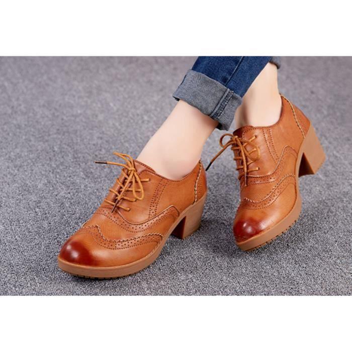 Bullock de style britannique Dichotomanthes casual chaussures à talons hauts-brun