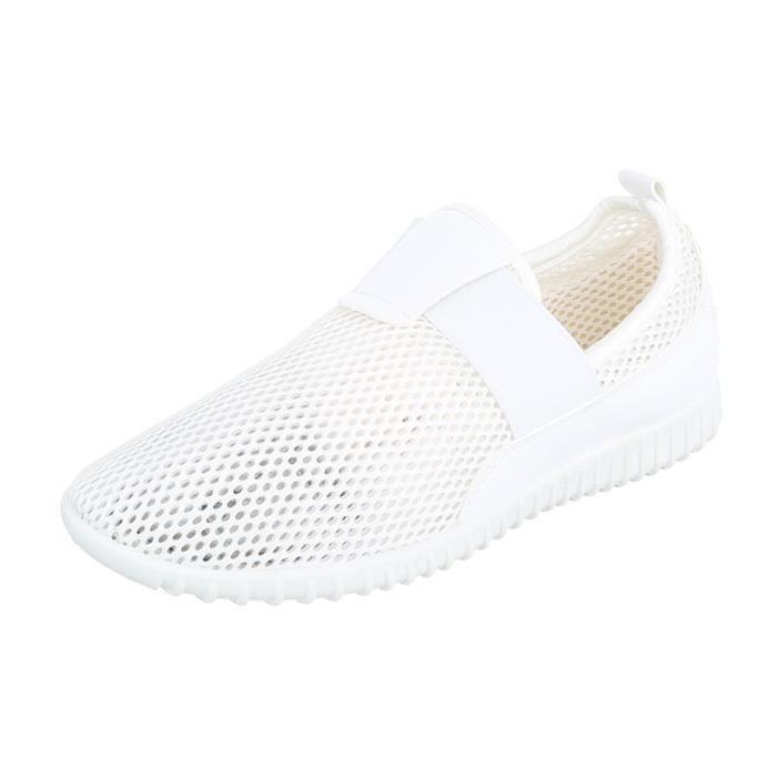 Femme Flâneurs Blanc Aéré Sport Chaussures 39 Léger De Mocassin FclK1J