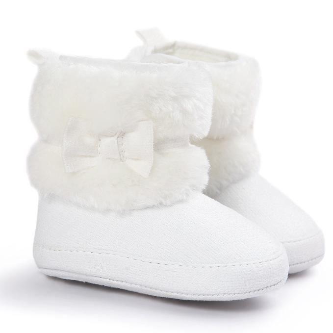 Bébé bowknot garder chaud semelle douce bottes de neige Doux berceau chaussures tout-petits bottes blanc