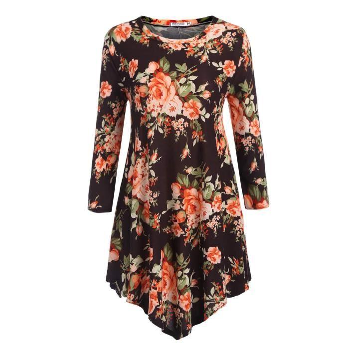 Femmes robe imprimé floral Ourlet asymétrique 3-4 manche Casual en vrac