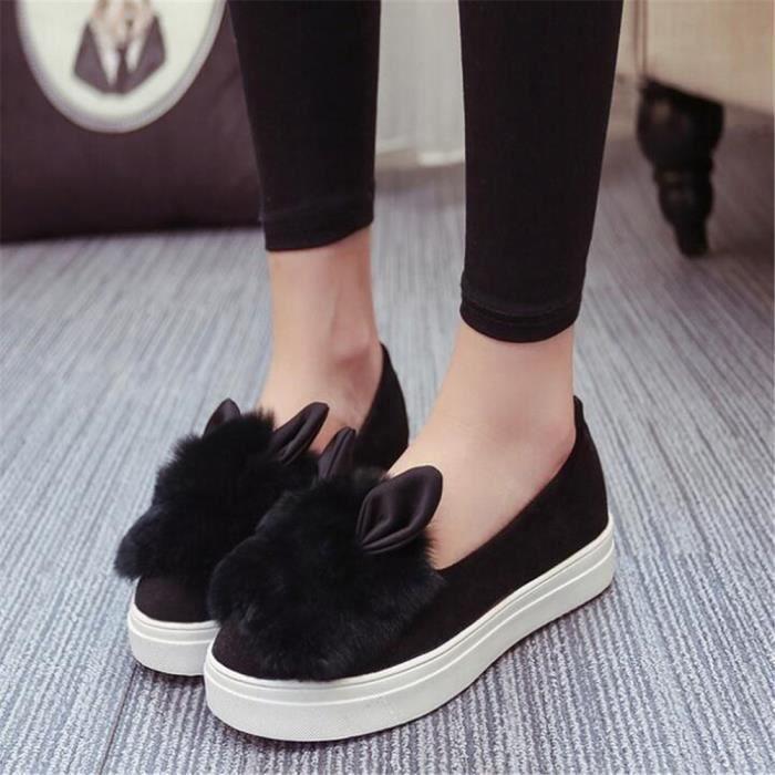 Chaussure femme lapin mignonne Poids Léger Mocassin Antidérapant Talons hauts Nouvelle Mode Luxe Grande Taille 40