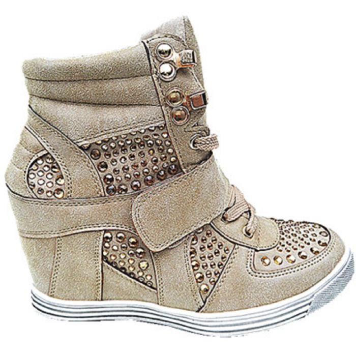 c3dcae1349c Fashionfolie888 - Femme Baskets compensées montante talon chaussures fille  lacet 12 TAUPE