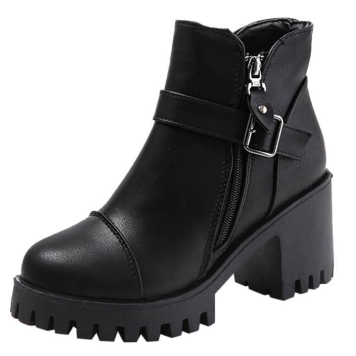 Chaussures Haut Cheville Talon Carrée Femme Boucle Ceinture De Martin Bottes Latérale La Noir À Glissière Fermeture OE46TqwP