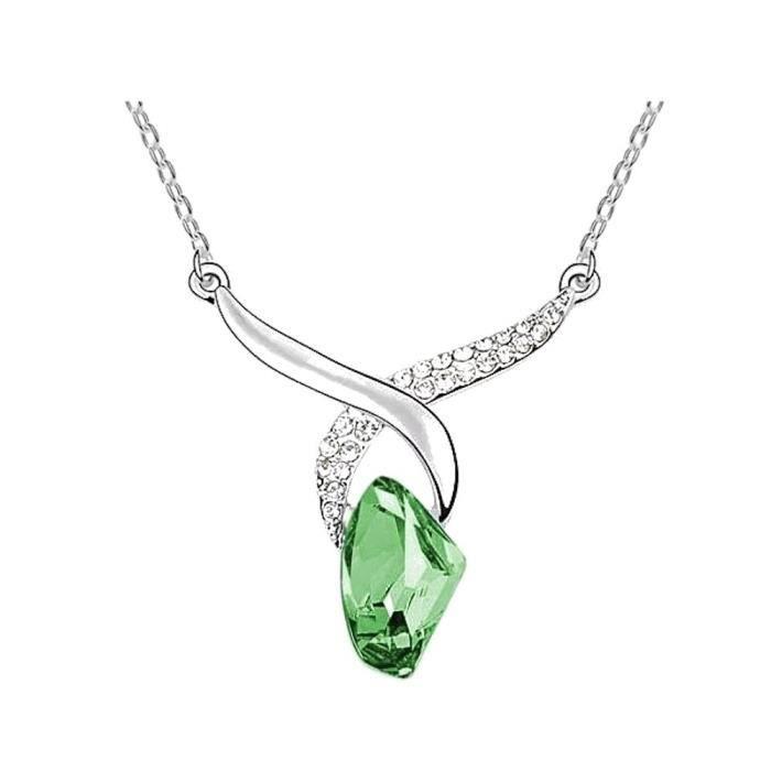 Collier cristal swarovski elements cristal swarovski elements plaqué or blanc Couleur Vert