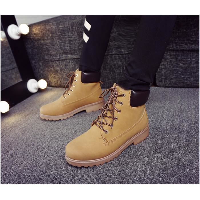 Autumn Winter Men's Martin Boots Fashion Mid Top Lacing MaleLeather Square Heel Wear-Resistant I6P1Mle