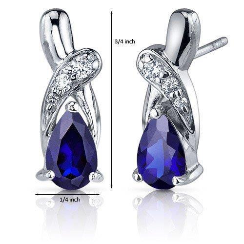 Femme créé bleu saphir Boucles doreilles en argent sterling de Tear Drop Cz Accent WP5HL