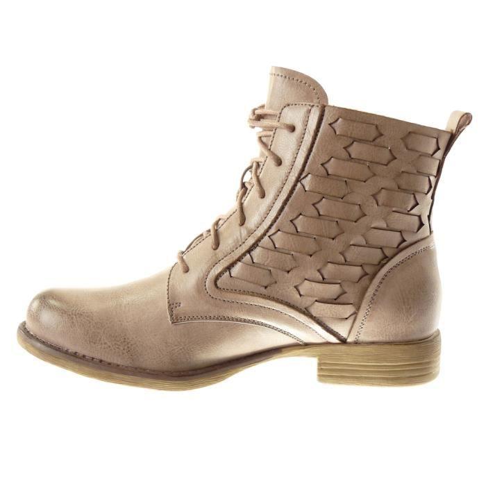 Angkorly - Chaussure Mode Bottine rangers cavalier femme lignes tréssé Talon bloc 2.5 CM - Rose - F2306 T 40