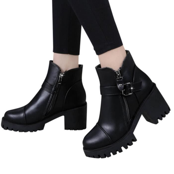 Fermeture Noir Bottes Cheville Glissière De Latérale La À Carrée Boucle Martin Ceinture Haut Chaussures Talon Femme qg4wxcHt
