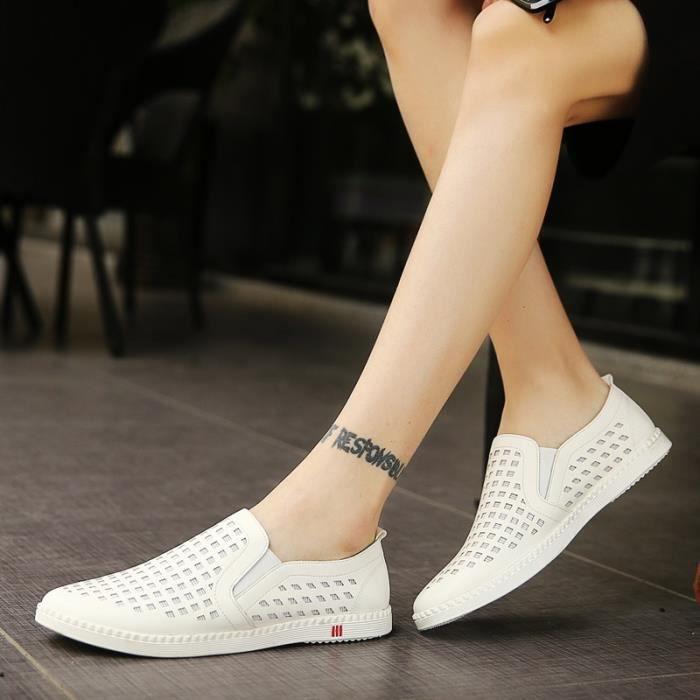 Véritable Mocassins Chaussures en cuir d'homme pour hommes respirants Mocassins Slip Male Auto Chaussures Casual Chaussures de Hwk4BV3