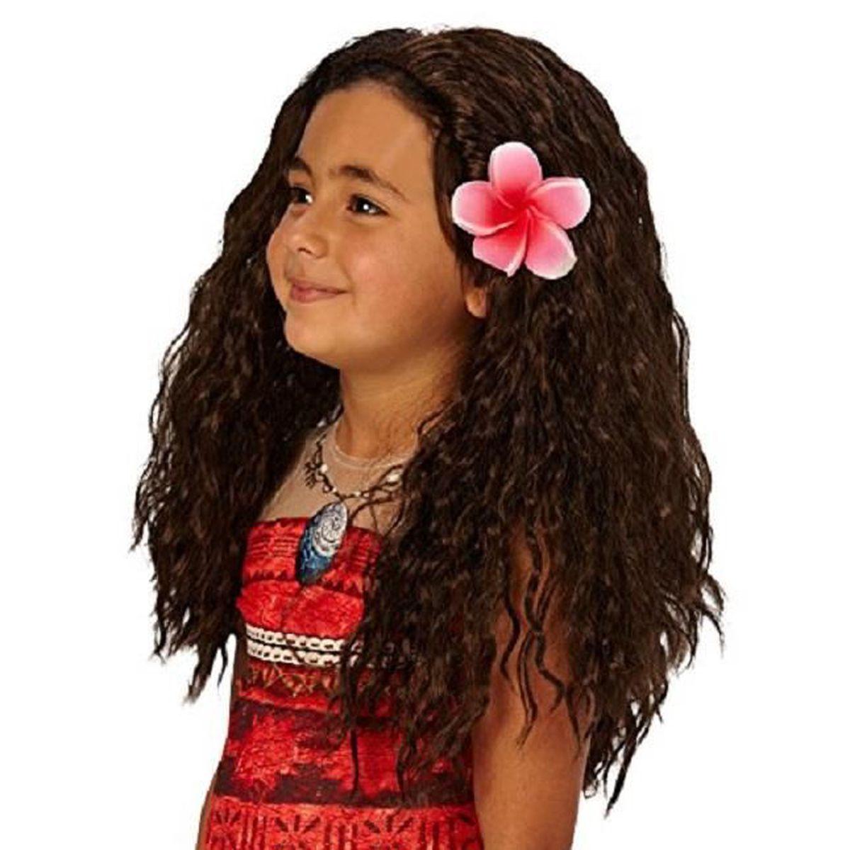 Perruque Disney Vaiana D 233 Guisement Enfant Avec Fleurs Cheveux Bruns Longs Achat Vente