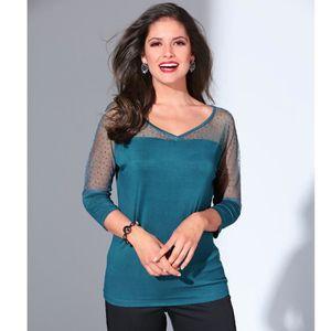 T-SHIRT Tee-shirt manches 3-4 strass femme