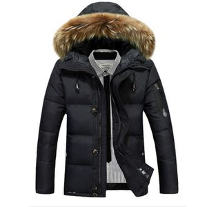 DOUDOUNE Manteau de Duvet Doudoune à Capuche Fourrure Homme