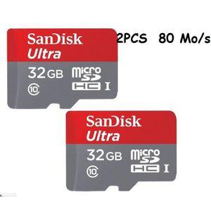 2pcs Micro Sd Sandisk Ultra 32 Gb Microsdxc Class 10 Uhs I 80mb S