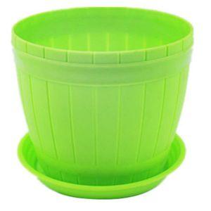 JARDINIÈRE - BAC A FLEUR Pot de Fleurs Plastiques Vert Grande avec châssis