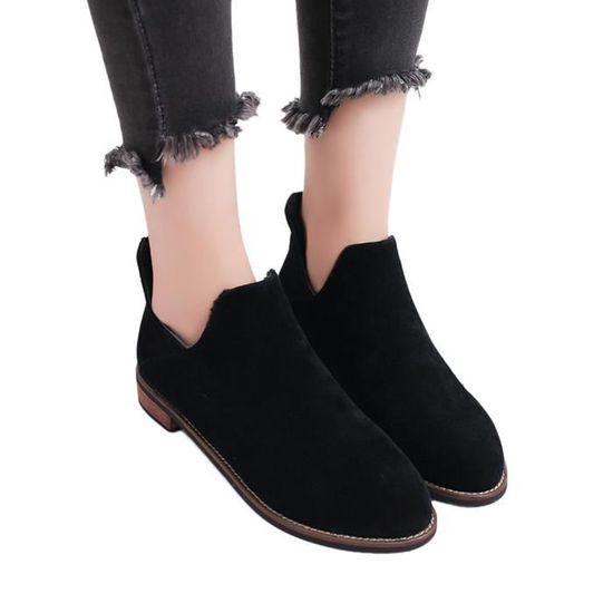 Femmes rondes Toe Shoes Pure Color bottillons Zipper talon carré Chaussures bottes Martin Noir Noir - Achat / Vente botte