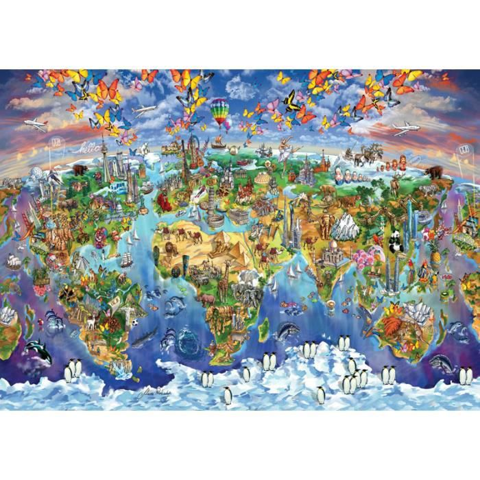 PUZZLE Puzzle 2000 pièces World Wonders Illustrated Map