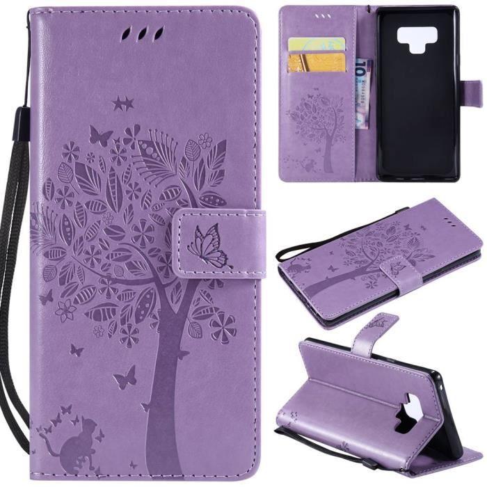 Coque Pour Samsung Galaxy Note 9 Chat Arbre Cuir Textile - Light Violet