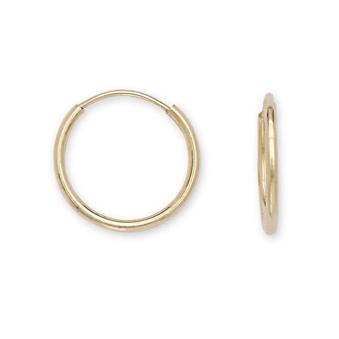 Or jaune 14 carats 12 mm-Boucles dOreilles Créoles