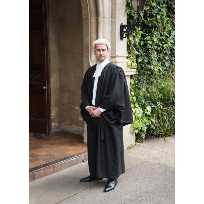 Robe Barristers, perruque et blanc Band Set
