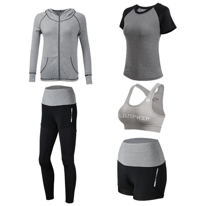 aa363c1238 Ensemble de Vetements de Sport Femme 5 Piece Vest+T-shirt  Court+Short+Brassiere+Pantalon