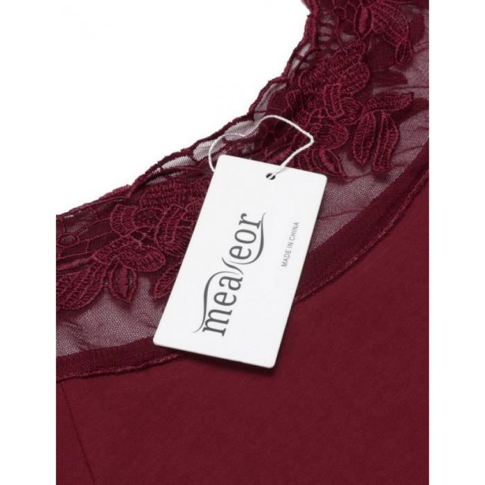Femmes robe Slim en dentelle Casual manches courtes col O Patchwork