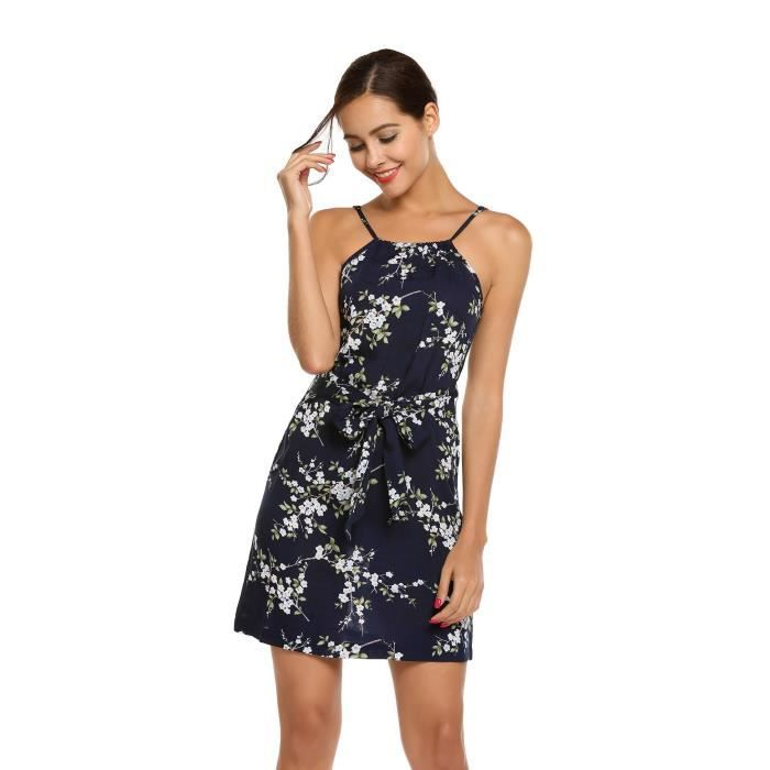 Robe Casual Party Strap Floral Mini A-line