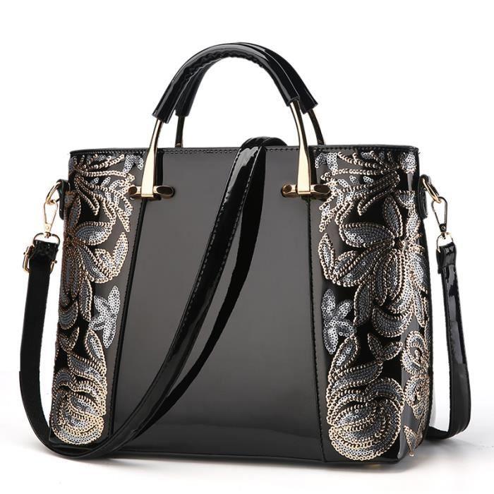 sac à main Mode féminine Sac sequin broderie de luxe en cuir verni marques célèbres Designer Femmes Sacs-2161