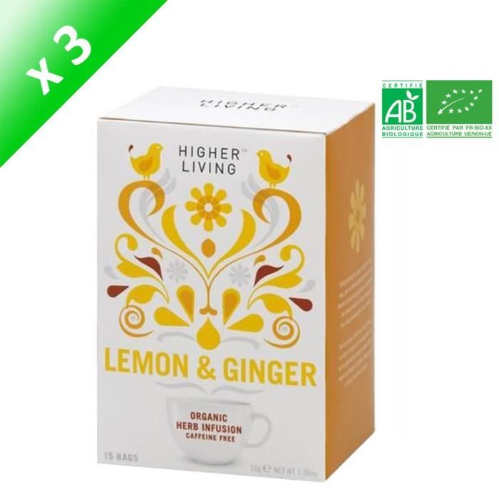 HIGHER LIVING Infusion Citron Gingembre Bio - 30 g x3