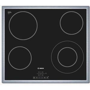 BOSCH PKF645B17E Table de cuisson Vitrocéramique - 4 foyers - 6600W - L57,5 x P50,5cm - Rev?tement verre - Noir
