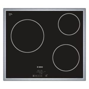 BOSCH PKM645B17E Table de cuisson Vitrocéramique - 3 zones - 5700W - L58,3 x P51,3cm - Rev?tement verre - Noir